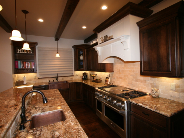 Two Toned in Tahoe - Kitchen overview, counters, backsplash, sink